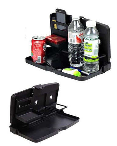 Two Layers Car Cup Holders Folding Table Multi Function Travel Dining Tray