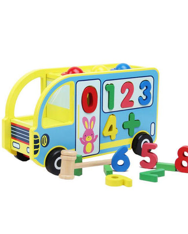 Knock The Ball Digital Bus Wooden Toys Early Learning Toy