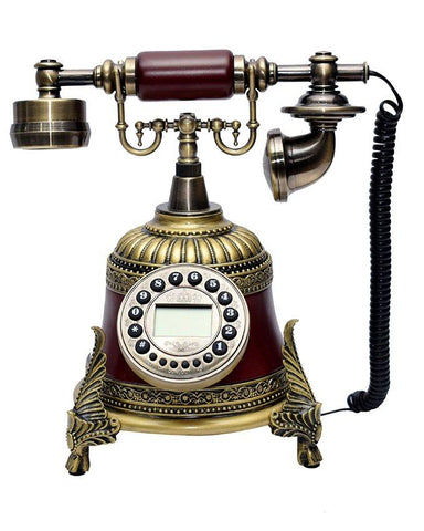 Classical Telephone Set Antique Chinese Resin Telephone Swivel Dial Digital Screen