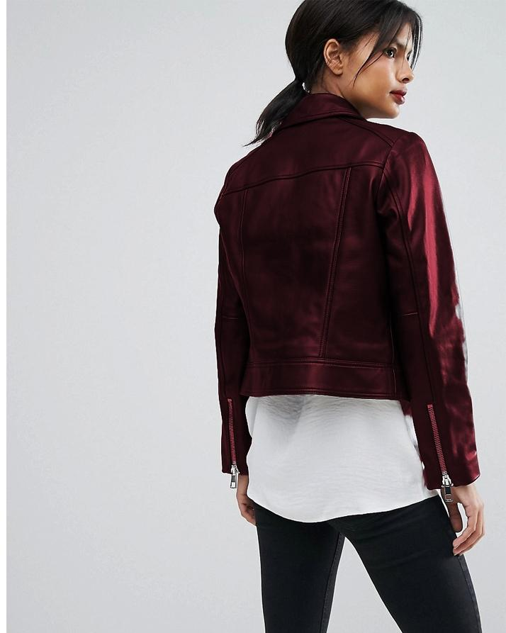 Highstreet Maroon Faux Leather Jacket For Women