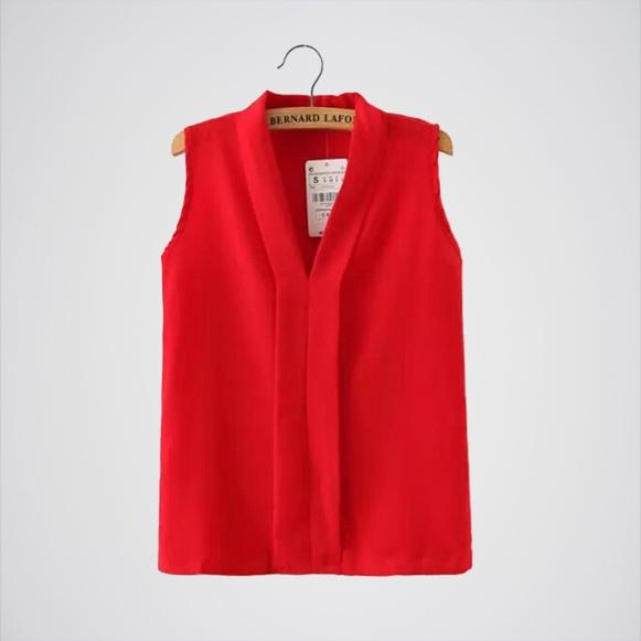 Red Chiffon Sleeveless Casual Slim Top. E4h-110029