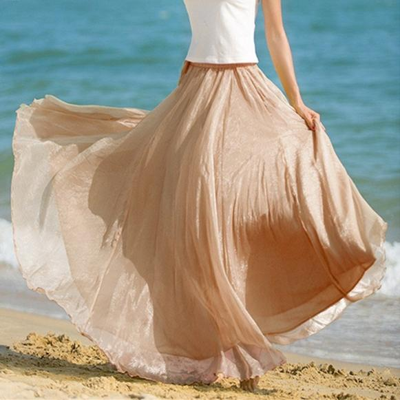 Beige Retro Chiffon Pleat Maxi Long Skirt. E4h-Begskt