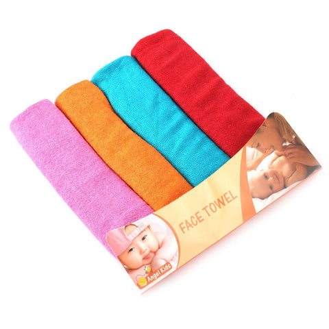 Angel Kids Pack of 4 Face Towel For Newborns (100% Cotton)  10x10 Inch Multicolour