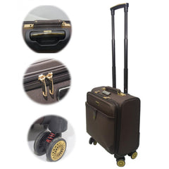 PU Leather Spinner Hard shell Zipper Rolling Trolley Bag Brown