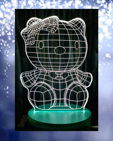 HelloKitty Shape 3D Acrylic Lamp With Plastic Base