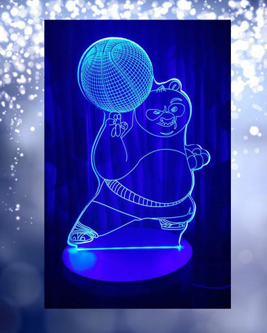 Kungfu Panda Shape 3D Acrylic Lamp With Plastic Base