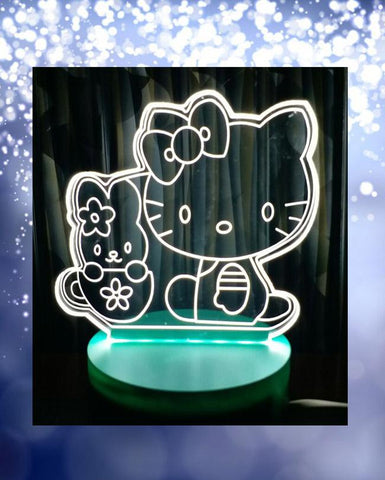 HelloKitty With Mug Shape 3D Acrylic Lamp With Plastic Base