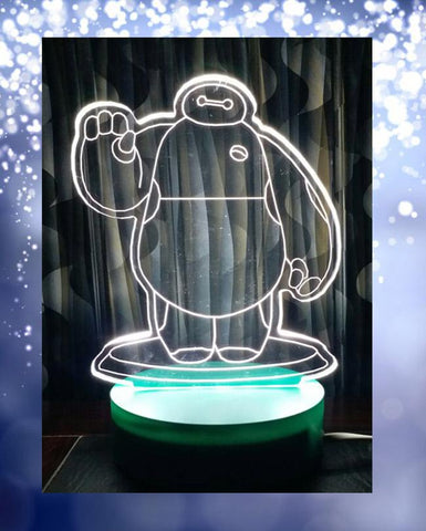 Big Hero Shape 3D Acrylic Lamp With Plastic Base
