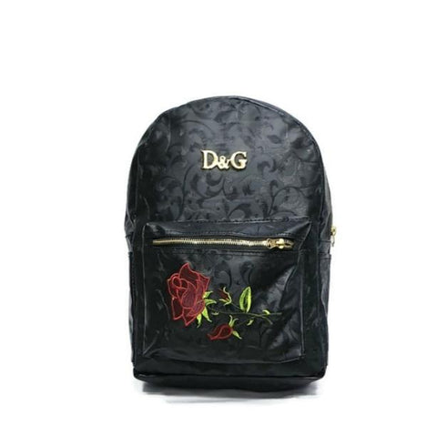 Veisk Fashion Floral Leather Backpack Women Embroidery College & School Bag-rzblk
