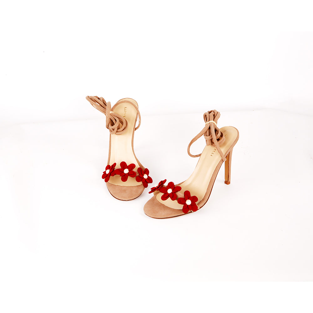 Synthetic Red Flower Heels For Women