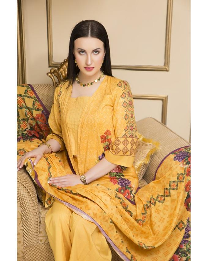 Russian Marigold B Digital Printed Lawn  2 Piece Unstitched