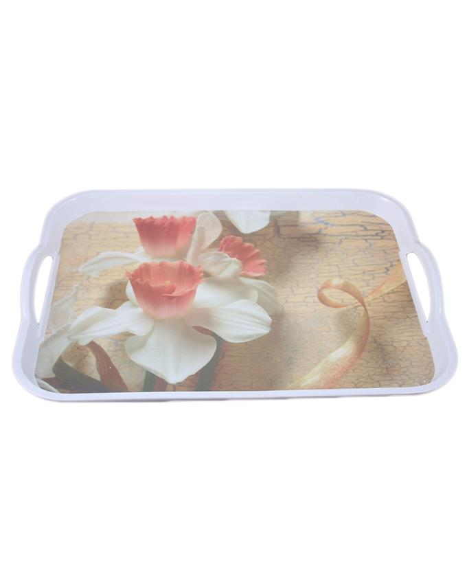 Rosegold Melamine Rectangular Serving Tray With Handles Clickmall