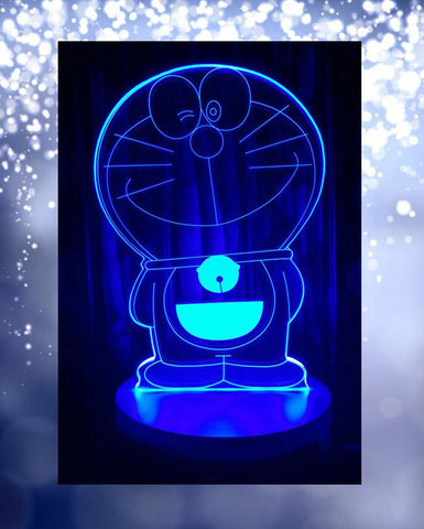Doraemon Shape 3D Acrylic Lamp With Plastic Base