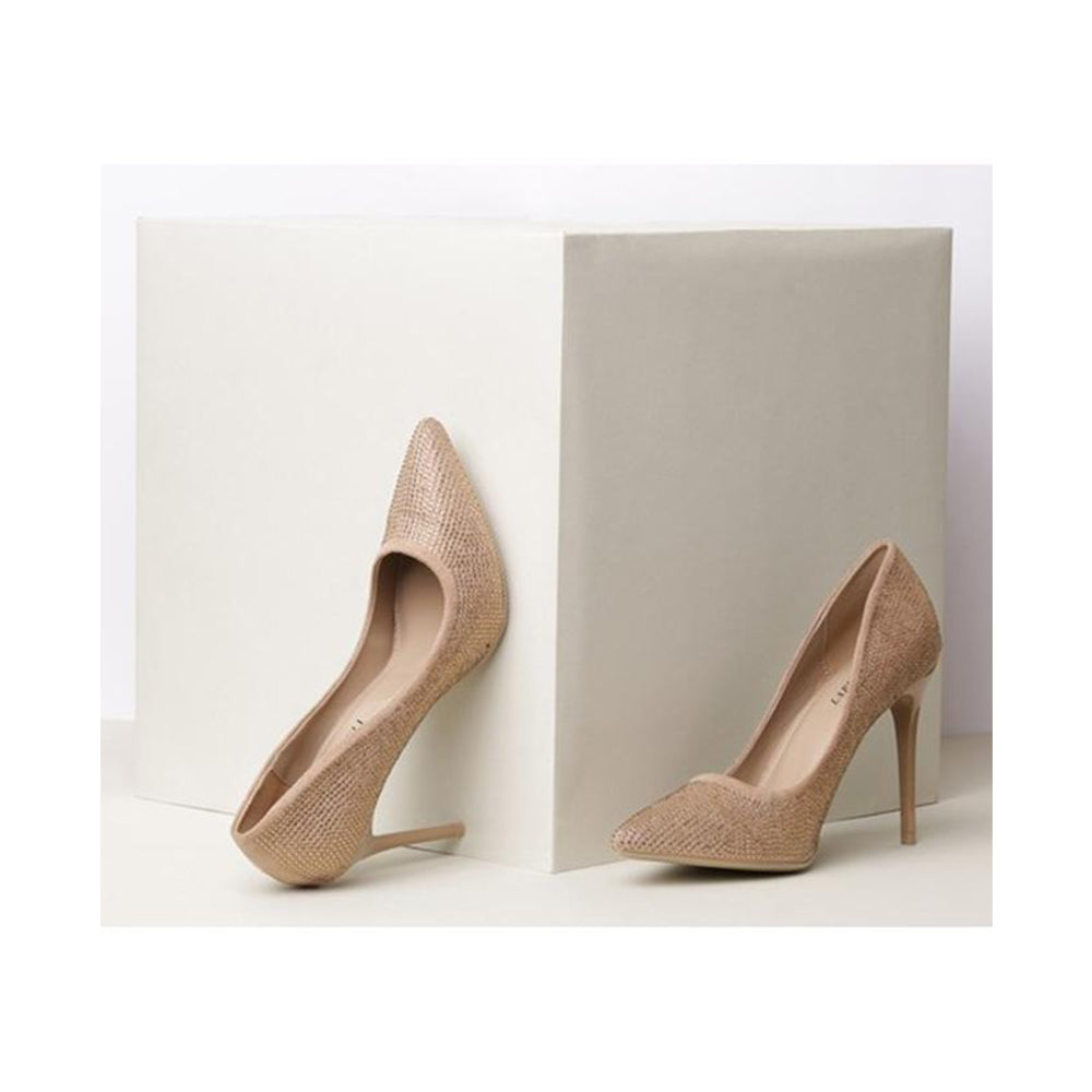 Synthetic 4 Inch Beige Platform Heels For Women