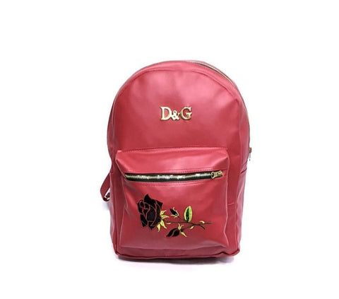 Veisk Fashion Floral Leather Backpack Women Embroidery College & School Bag-rzred