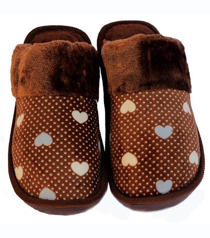 Rhizmal Brown Beneta Woolen Yarn Knitted Slippers For Women