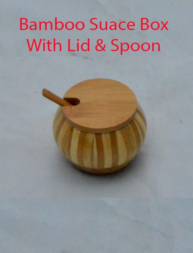 Bamboo Bowl With Lid & Spoon