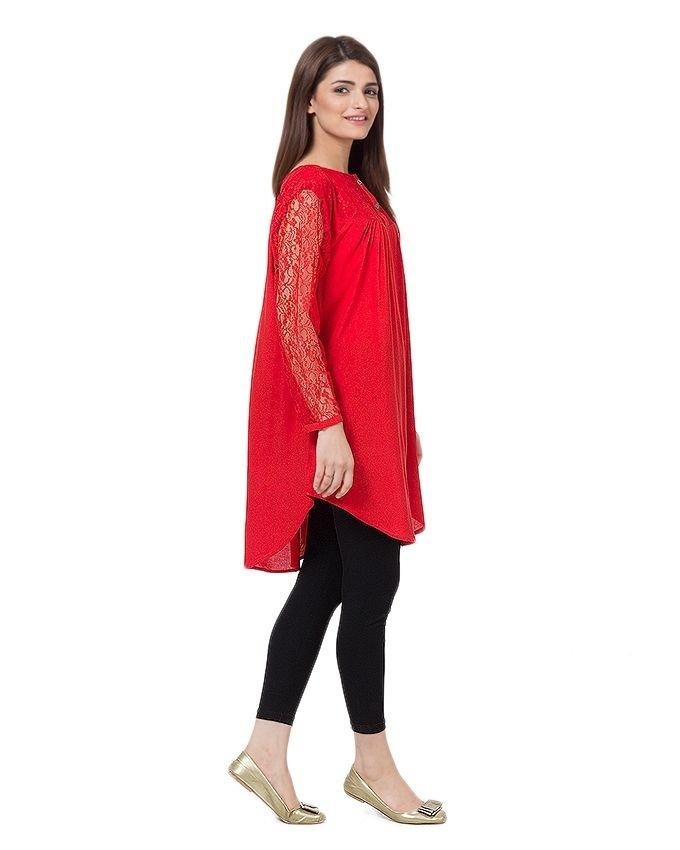 Red Cotton and Net Top For Women