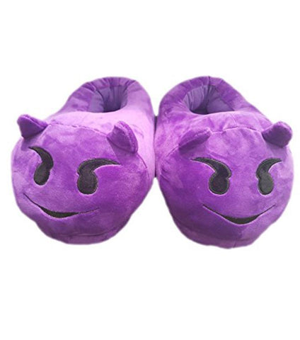 Emoji Plush Slippers - Devil