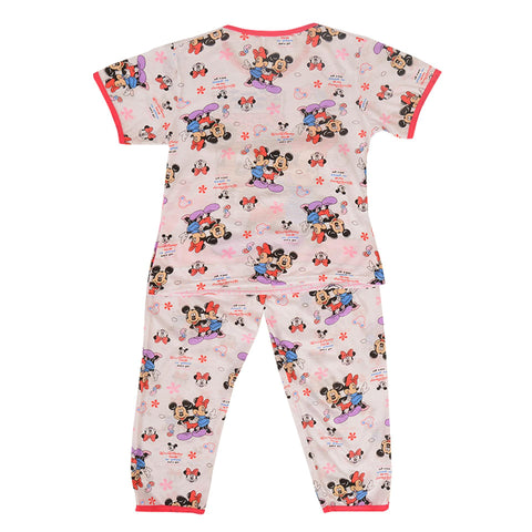 Pack of 2 Pure Cotton Night Suit (Pajama + Tshirt) for Girls - Minnie Mouse UG-424-6