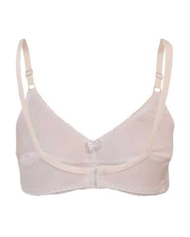 Roses Gold Jolly Jersey 2 Hooks Plain Bra for Women - White UG-466-32