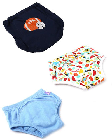 Pack of 3  Soft Padded Underwear for 3 - 6 Year Kids  Multicolour (Boys colours)
