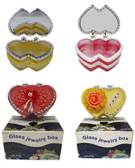 Pack of 4 - Single Jewelry Box Glass with Hand work Pearls - Multicolor