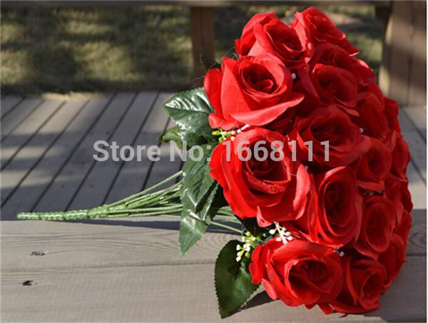 Artificial Rose Bunch Flower silk flower decorative for wedding party flowers-Red