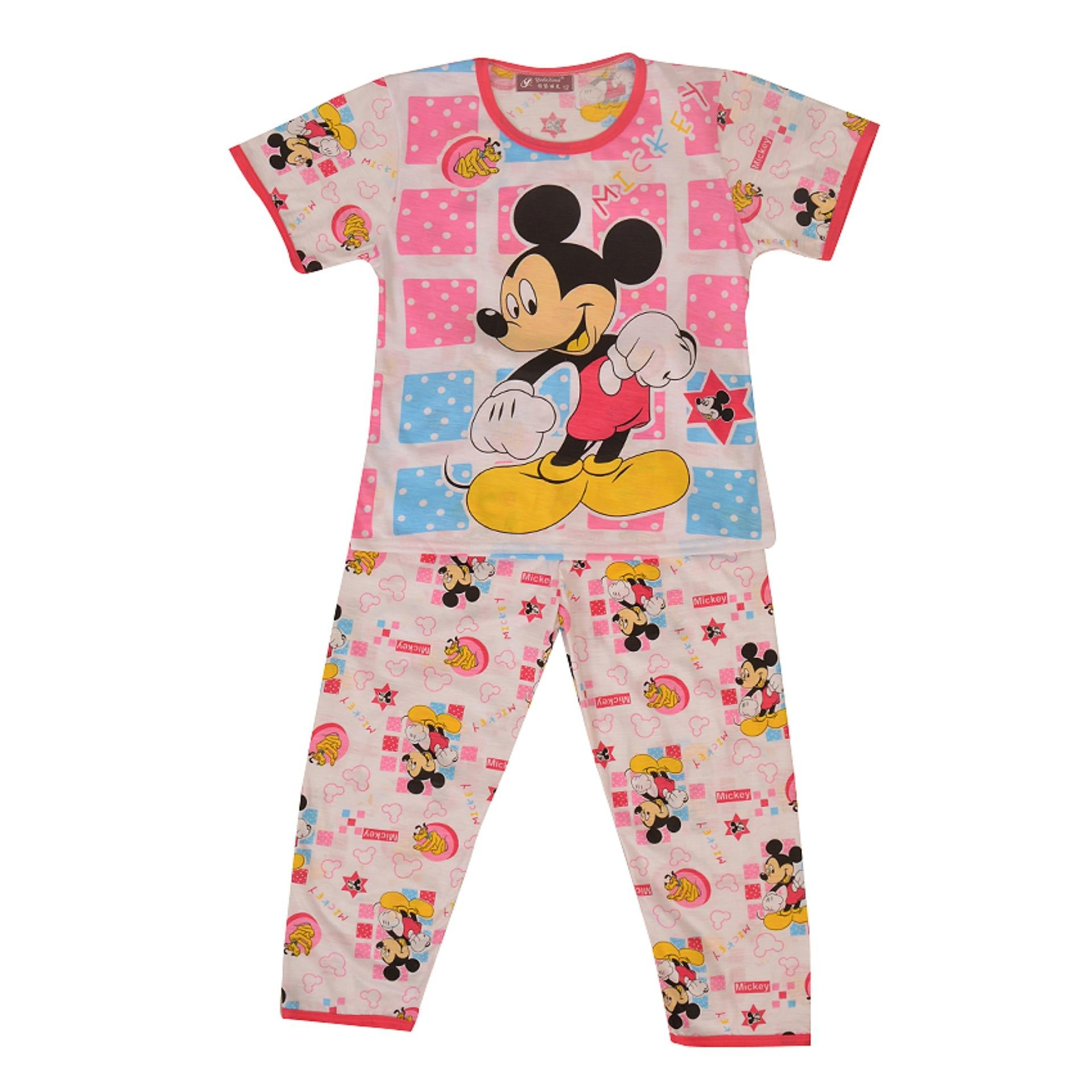Pack of 2 Pure Cotton Night Suit (Pajama + Tshirt) for Girls - Mickey Mouse UG-423-6
