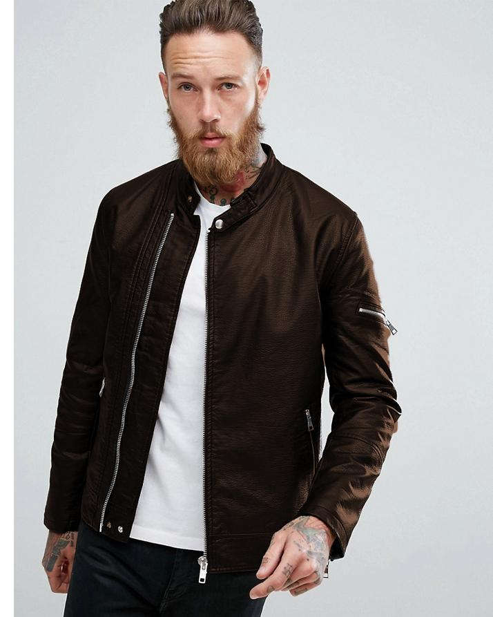 c098866f4 Highstreet Brown Faux Leather Jacket For Men
