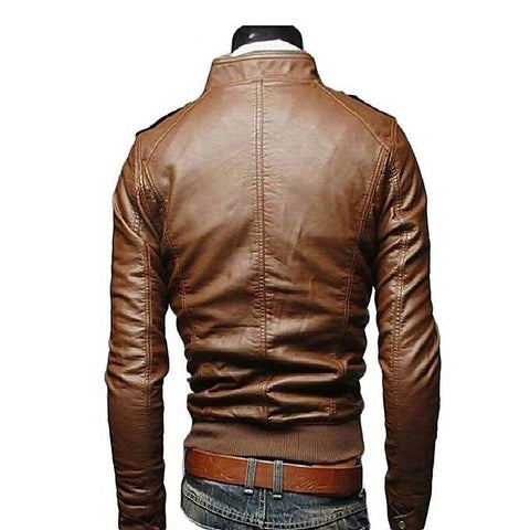 Men's Slim Fit Pu Leather Jacket MB-95