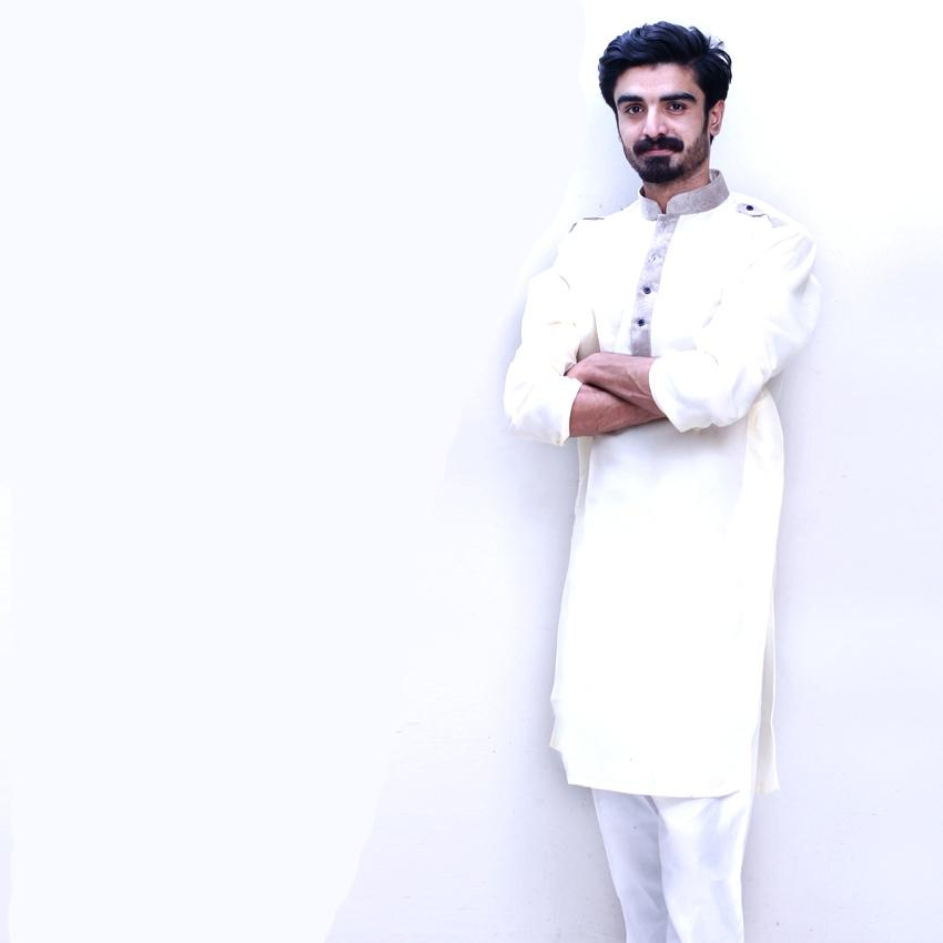 Men's Off-White Collar Cotton Stitched Kurta. Mc-E919-Owt