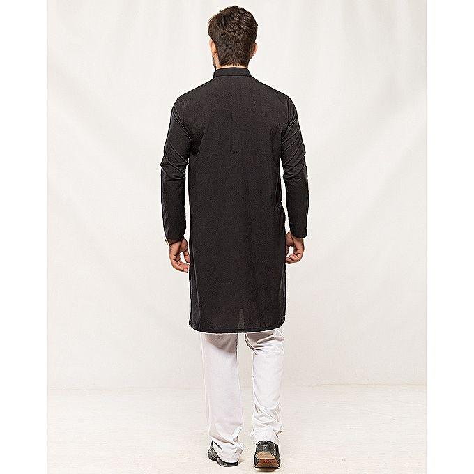 Black Wash N Wear Kurta For Men