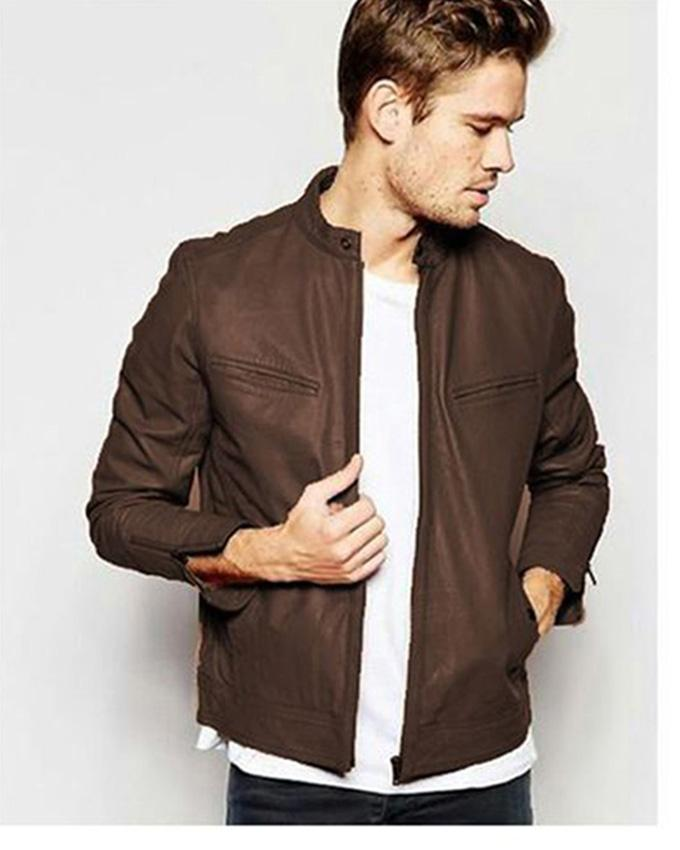 Brown Faux Leather High Street Jacket for Men