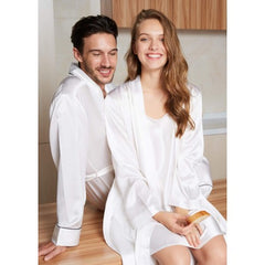 White Luxury Silk Couple Robes RID-561-W