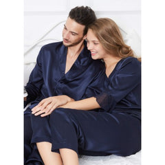 Navy Romantic Silk Couple Pajamas Sets RID-566