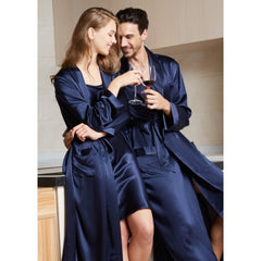 Navy Luxury Silk Couple Robes RID-561-N