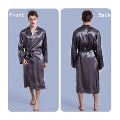 Men's Lead Grey Dual Pocket Satin Silk Nightwear Gown. NN-64