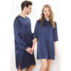 Navy Silk Couple Nightshirts RID-567