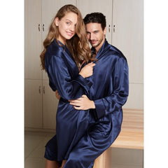 Navy Matching Silk Couple Robes RID-565