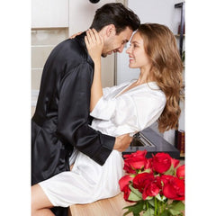 Black-White Matching Silk Couple Robes RID-559