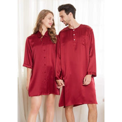 Maroon Silk Couple Nightshirts RID-563