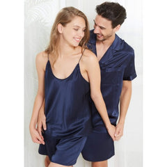 Navy Short Silk Couple Pajamas Sets RID-539