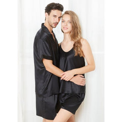 Black Short Silk Couple Pajamas Sets RID-525