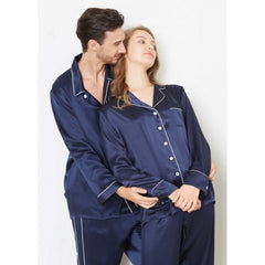 Navy Trimmed Silk Couple Pajamas Sets RID-579-1