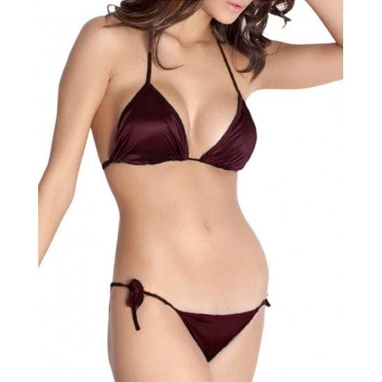 Women's Dark Purple Silky Bikini Set. E4H-213