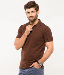 Marhaba Mart - Men's Chocolate Brown Cotton Basic Polo T-shirt. MM-PT8