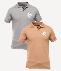 Xander House - Men's Pack of 2 Poly-Cotton Logo Printed Polo T-shirts. XH-915