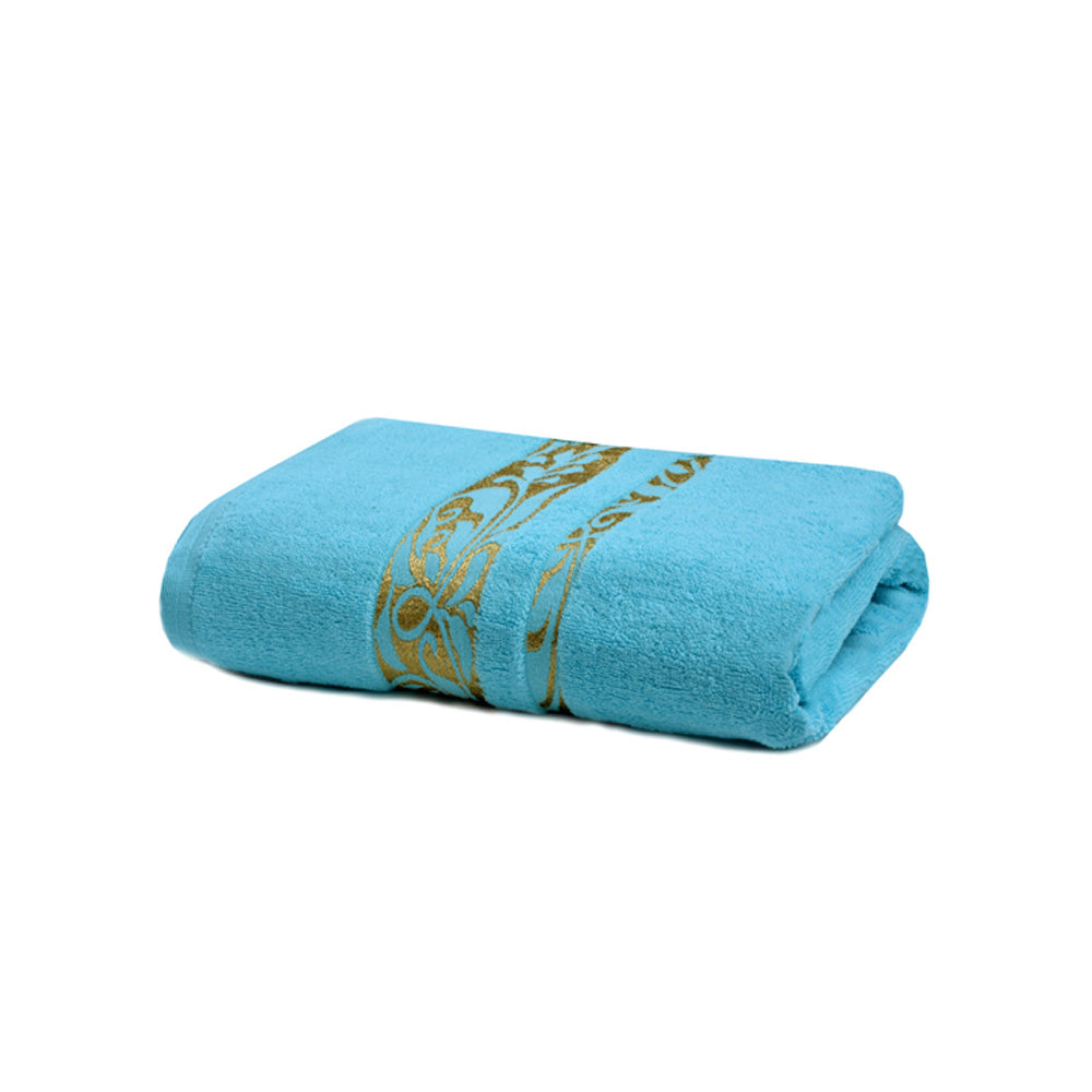 Khas Bath Towel Jaquard Velour - Aque Blue