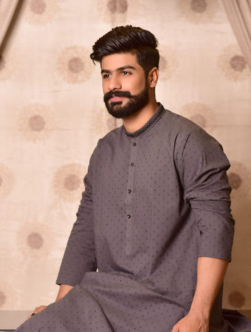 Khas Stores  1 Pcs Eid Collection  Men,s Kurta  S-6000 CHARCOAL